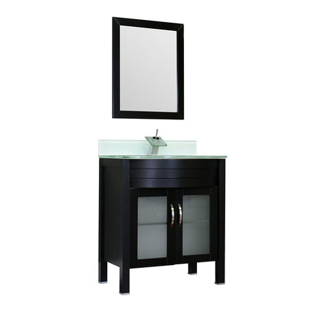 "Image of Elite 30"" Single Modern Bathroom Vanity in Black with Light Green Glass Top and Mirror with Mirror"