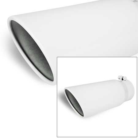 Universal Stainless Truck Angled White 12 inch Bolt-On Exhaust Tip 4 In 5 Out
