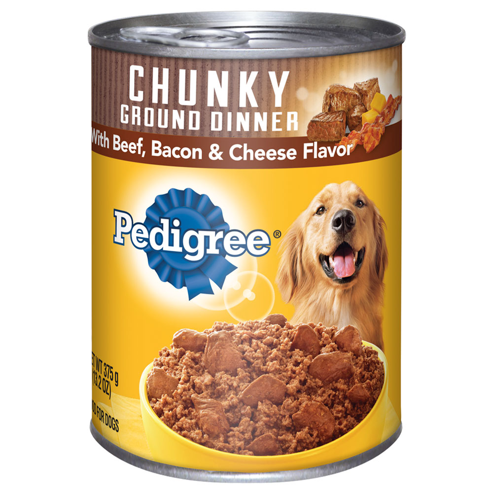PEDIGREE Chunky Ground Dinner With Beef, Bacon and Cheese Flavor Canned Dog Food 13.2 oz.