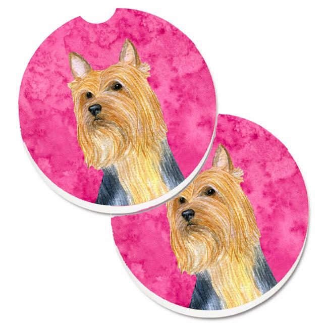 Blue Silky Terrier Set of 2 Cup Holder Car Coaster - image 1 of 1