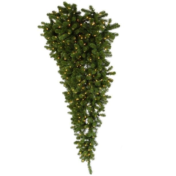 6' Pre-Lit Medium American Spruce Upside Down Half Wall Christmas Tree - Warm Clear LED Lights ...