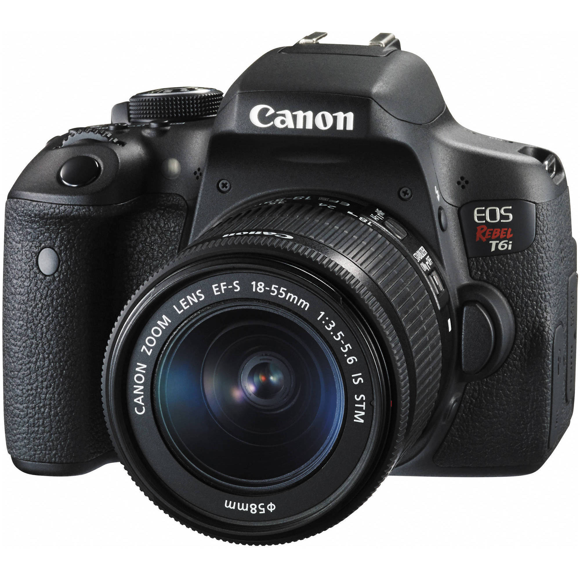 Canon Black EOS Rebel T6i Digital SLR Camera with 24.2 Megapixels and 18-55mm Lens Included