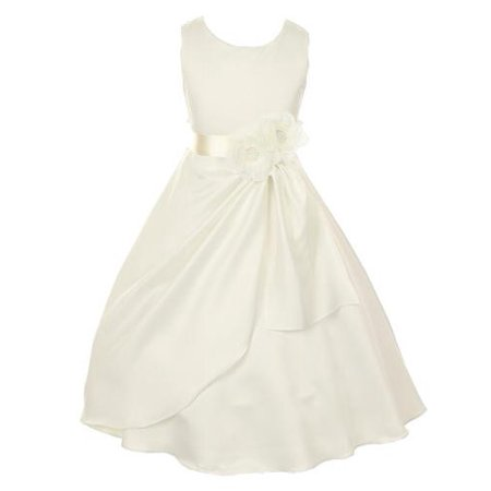 Big Girls Ivory Bridal Dull Satin Sequin Flowers Occasion Dress 12