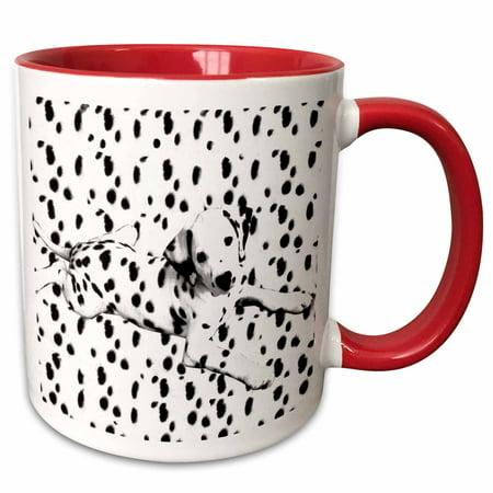 Dalmatians Mug Dog (3dRose Dalmatian, Spots On Spots - Two Tone Red Mug, 11-ounce )
