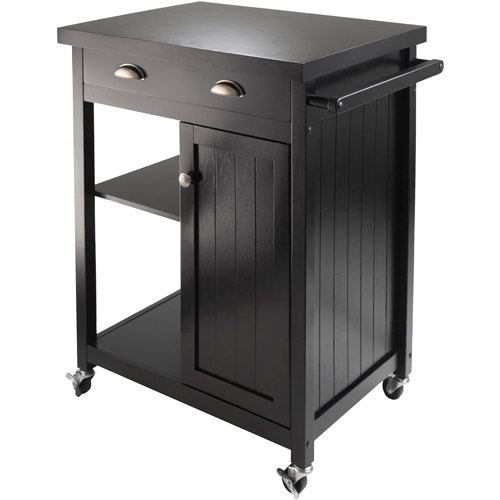 Wood Timber Kitchen Cart, Black
