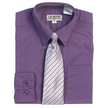 Purple Button Up Dress Shirt Pinstriped Tie Set Toddler Boys 2T