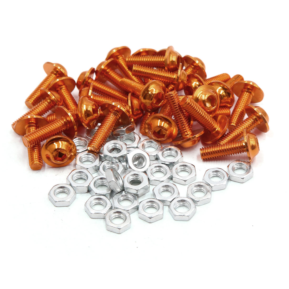 30pcs M6 Orange Aluminum Alloy Hex Socket Head Motorcycle Bolts Screws Nuts