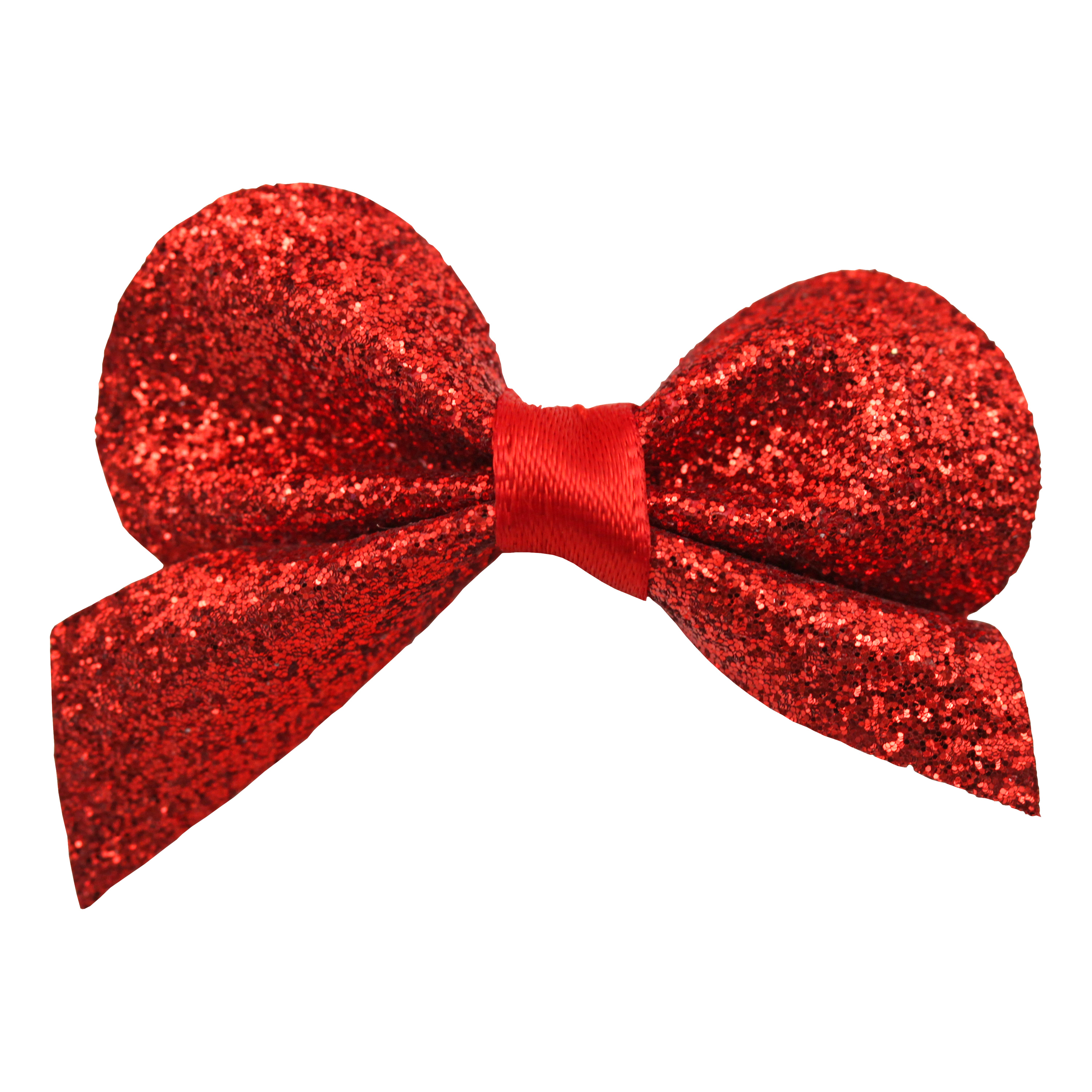 Satin Red Glittery Bow