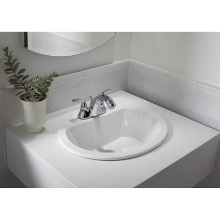 KOHLER K-2699-1-0 Bryant Oval Self-Rimming Bathroom Sink with Single-Hole Faucet Drilling, White