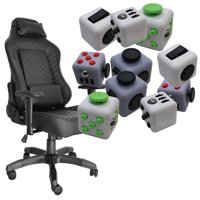 Combo: Fidget Cubes + High Back Gaming Racing Chair Comfort Headrest PU Leather