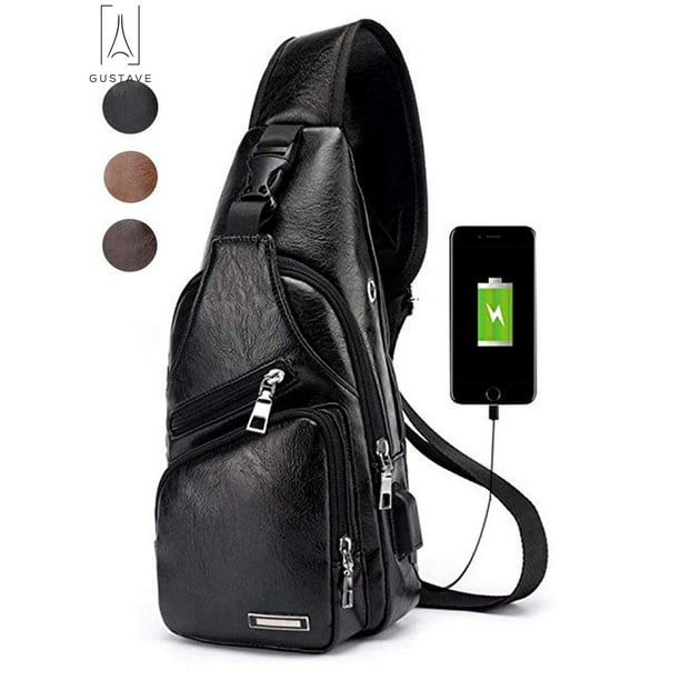 "GustaveDesign Sling Bag Men Chest Shoulder Backpack waterproof Leather Crossbody Bag with USB Charging Outdoor Hiking Travel ""Black"""