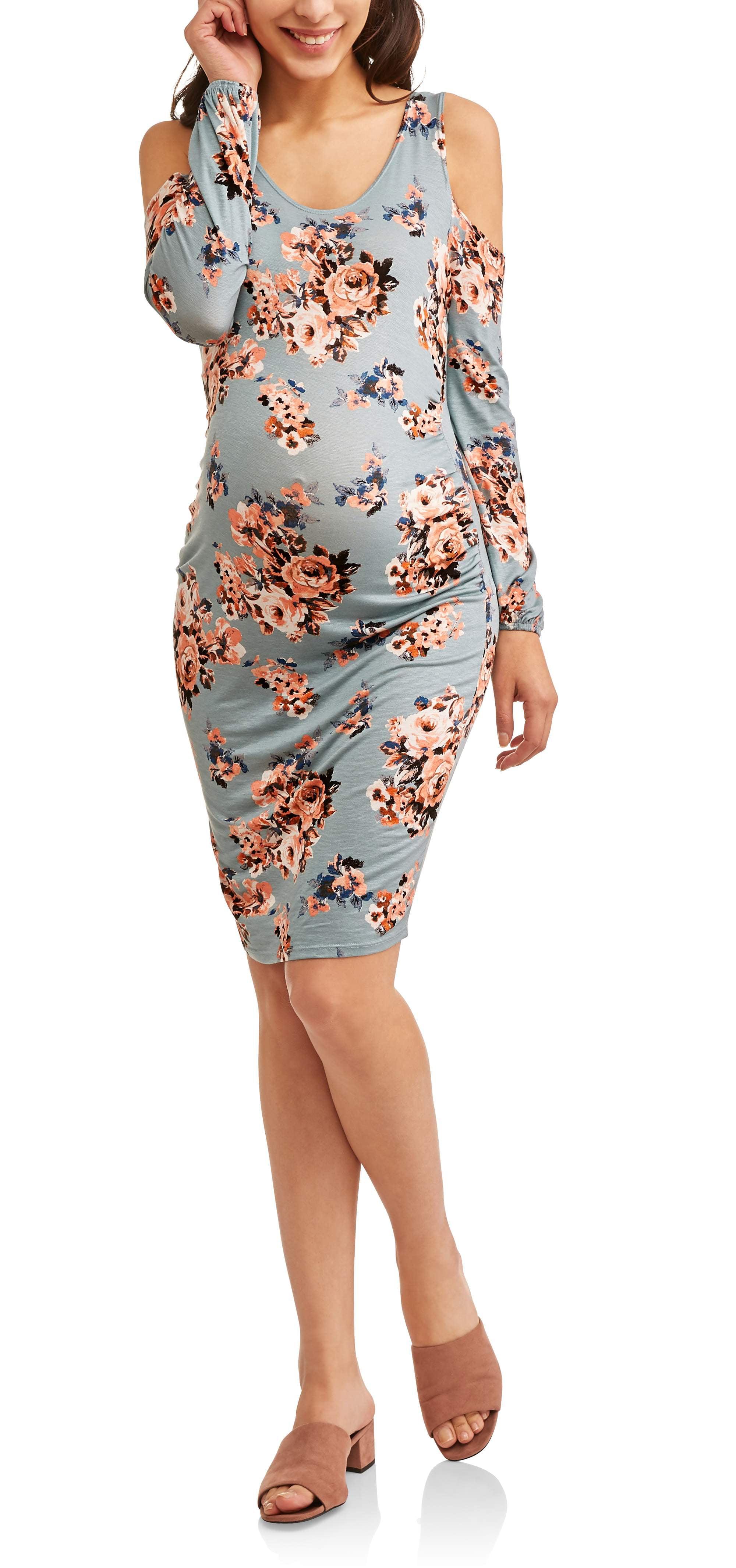 Maternity Long Sleeve Cold Shoulder Dress by ELO Sportswear