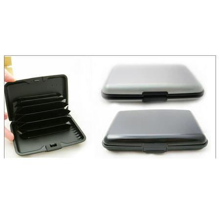 Globe Business Card Holder - RFID Blocking Hard Case Credit Card Wallet ID Holder Business Aluminum Blk Sil !