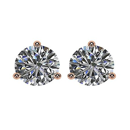 3 00TW Swarovski Zirconia 3 Prong Martini CZ Earrings 14kt Rose Gold Plated  Posts Sterling Silver Hypoallergenic