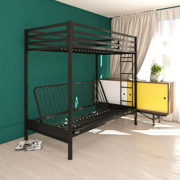 DHP Miles Twin over Futon Metal Bunk Bed with Ladder for Kids, Black