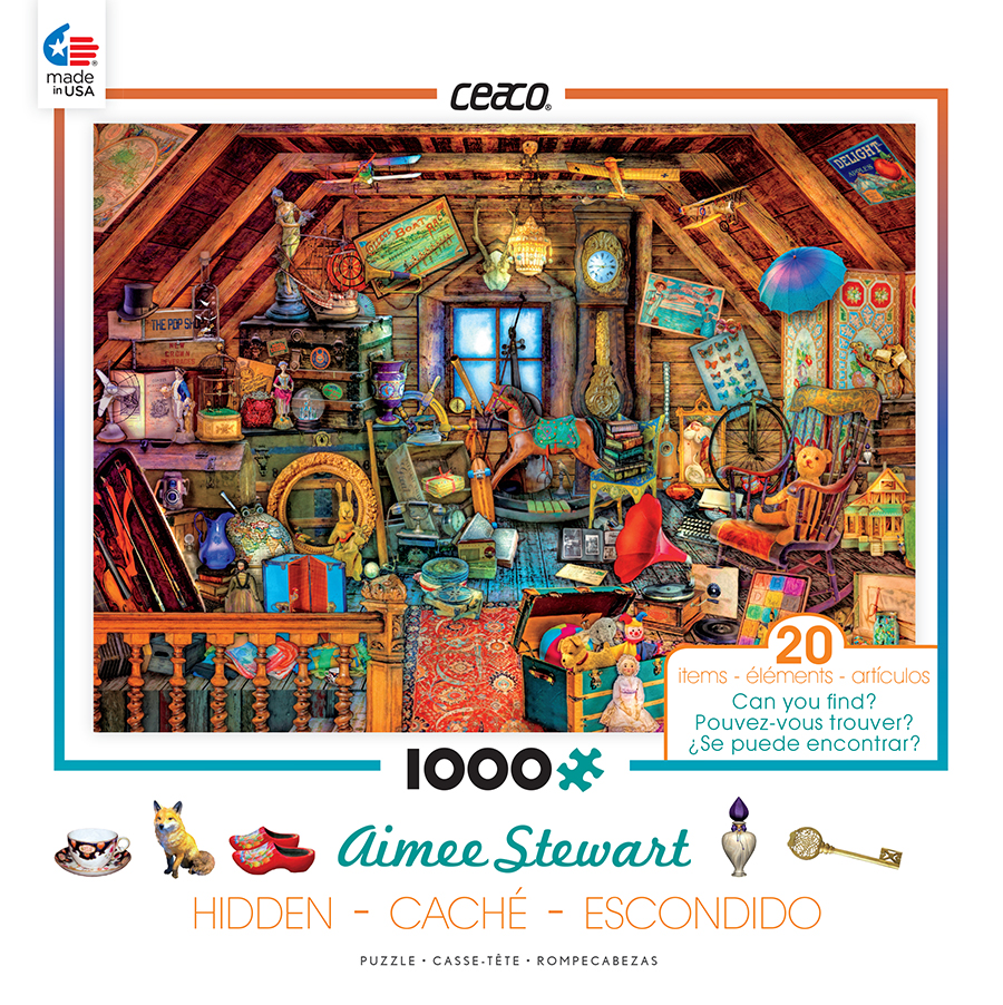 Ceaco 1000 Piece Jigsaw Puzzle Aimee Stewart Hidden - In the Attic #3386-02
