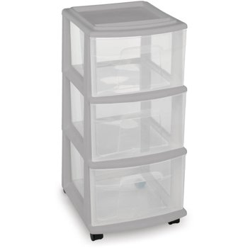 Set-of-2 Mainstay 3-Drawer Medium Cart (Gray)