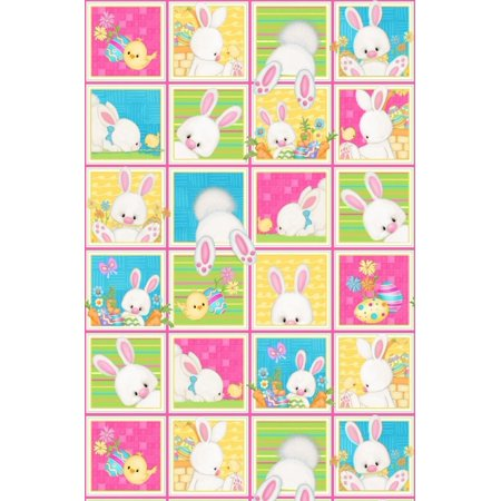 Fabric Image Block (henry glass - easter bunny blocks panel 23
