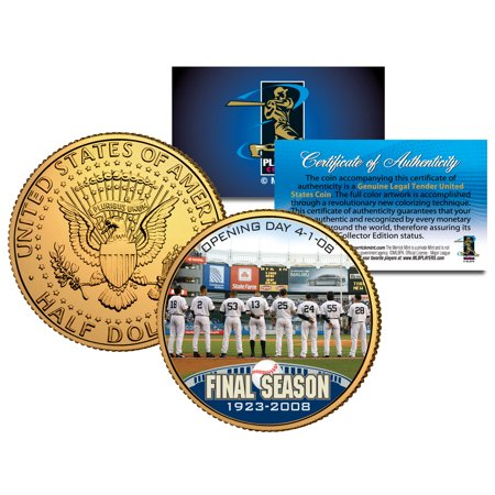 YANKEE STADIUM FINAL SEASON 2008 JFK Half Dollar Gold Plated US Coin DEREK JETER (Stadium Silver Coin Card)