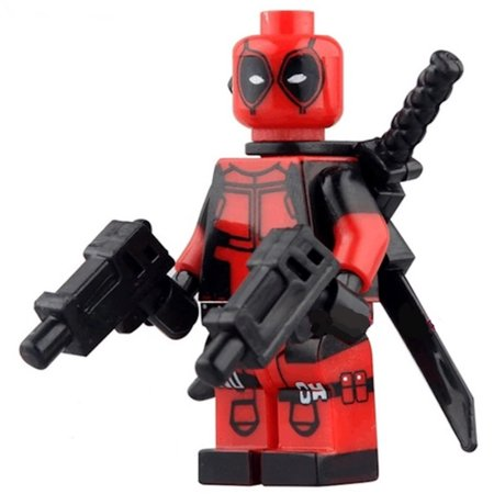 Deadpool Two Guns Two Swords Action Figure Style Building Blocks Crazy Superhero Toy-BB-16