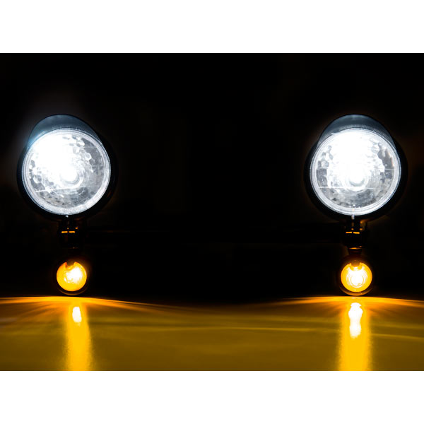 Krator Black Motorcycle Passing Light Bar & Turn Signals For Kawasaki Eliminator BN 125 250 600 900 - image 3 de 7