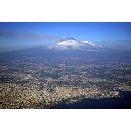 Italy, Sicily, Aerial View of Mount Etna. City of Catania in the Foreground Print Wall Art By Michele