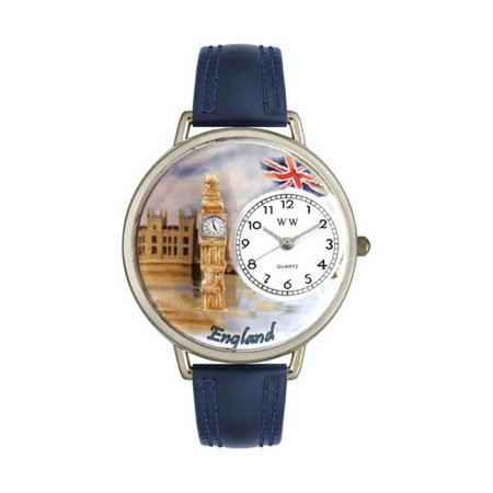 Whimsical Watches U-1420002 England Navy Blue Leather and Silvertone Watch