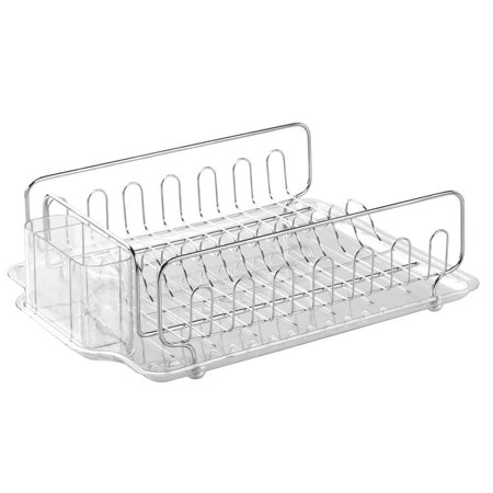 Forma Kitchen Dish Drainer Rack With Tray For Drying Glasses  Silverware  Bowls  Plates   Stainless Steel Clear  Rust Resistant By Interdesign