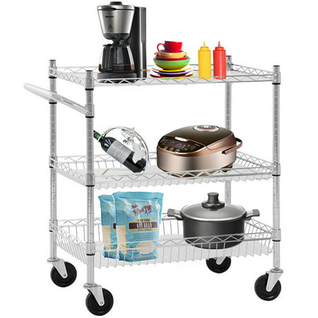 Heavy Duty Utility Cart Wire 3 Tier Rolling Cart Organizer NSF Kitchen Cart On Wheels Metal Serving Cart Commercial Grade With Wire Shelving Liners And Handle Bar For Kitchen Office Hardware,Chrome (Tool Cart Liner)