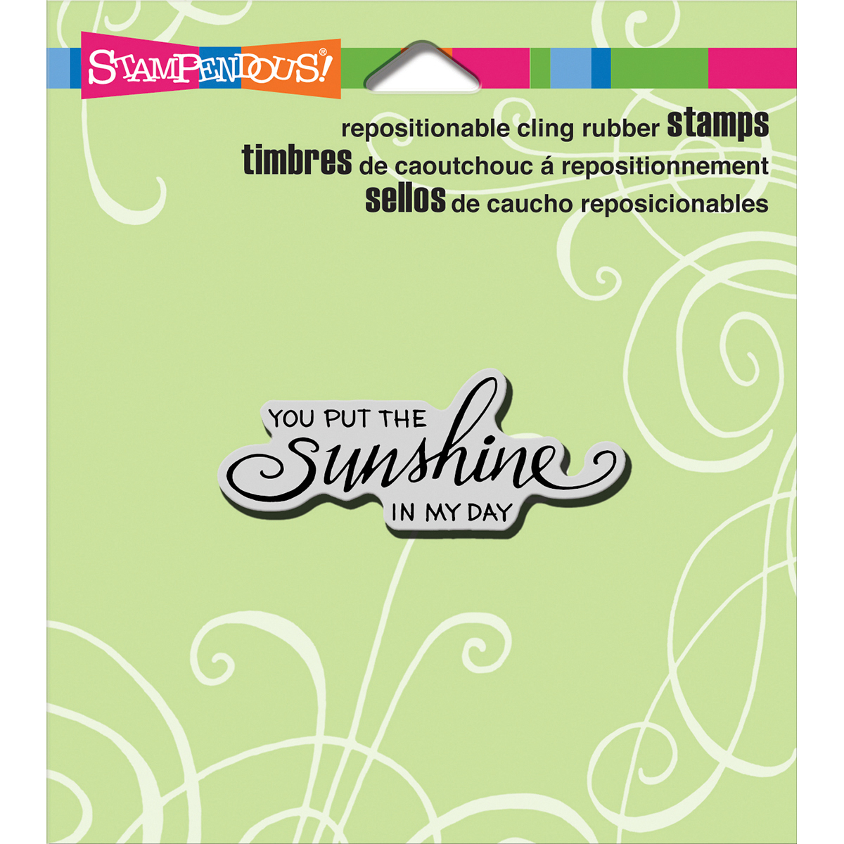 """Stampendous Cling Stamp 4.75""""X4.5""""-Scrolled Sunshine"""