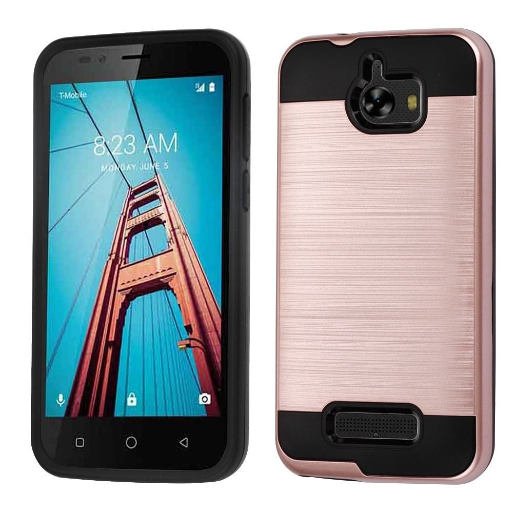 Insten Dual Layer Hybrid Brushed Hard Plastic/Soft TPU Rubber Case Cover For Coolpad Defiant - Rose Gold/Black (Bundle with Micro USB cable)