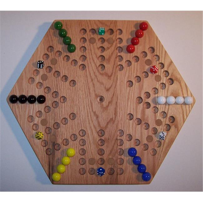 Charlies Woodshop W-1928alt. -1 Wooden Marble Game Board - Red Oak with 12 Birch Inlaid Spots