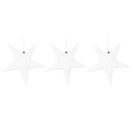 Festival Paper Star Shaped DIY Decor Tree Hanging Ornaments White 3 Pcsfor Christmas ()