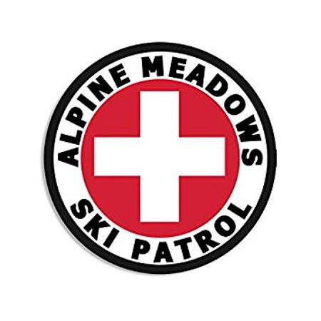 Round ALPINE MEADOWS SKI PATROL Sticker Decal (tahoe ca snowmass snow) Size: 4 x 4 inch Alpine Ski Snow