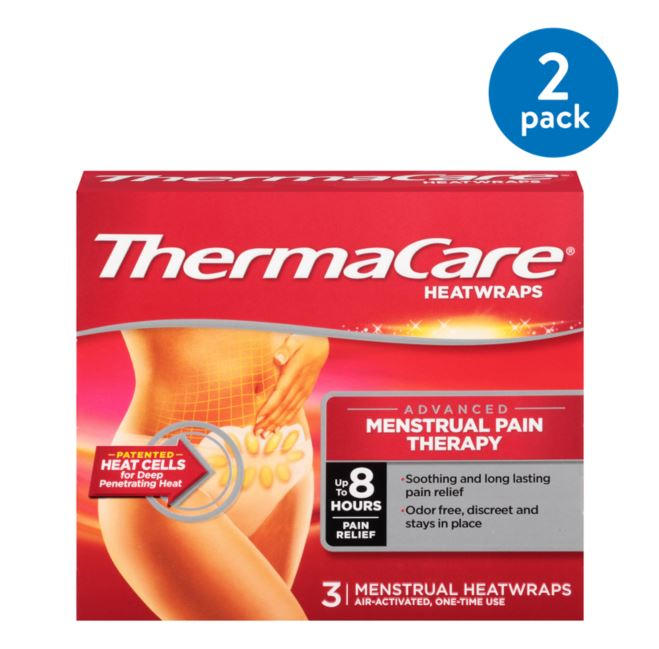 (2 Pack) ThermaCare Advanced Menstrual Pain Therapy (3 Count) Heatwraps, Up to 8 Hours Pain Relief, Temporary Relief of Menstrual Cramp Pain, Back Aches, Discreet