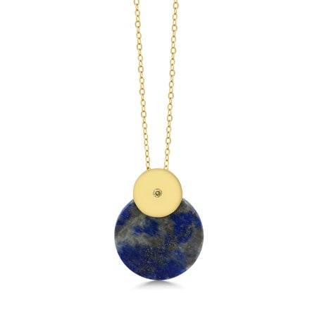 """Round Blue Simulated-Lapis Pendant With Yellow Diamond Accent With 18"""" Chain - image 2 de 2"""