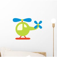 Cute Little Helicopter Wall Decal Sticker by Wallmonkeys Vinyl Peel & Stick Graphic for Boys (12 in W x 8 in H)