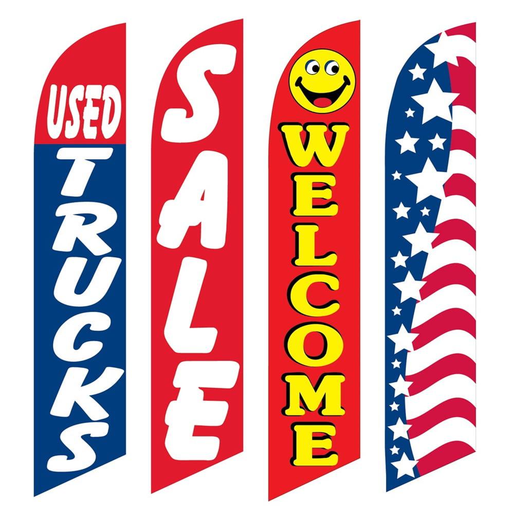 4 Advertising Swooper Flags Used Trucks Sale Welcome Patriotic