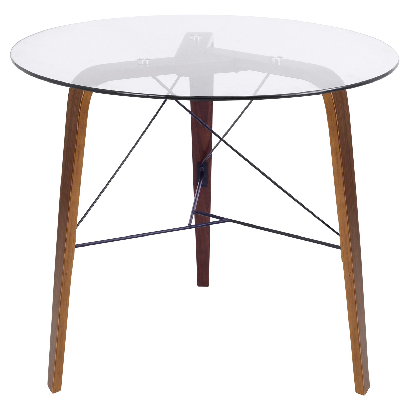 Trilogy Contemporary Round Dining Table in Walnut Wood and Clear Glass by LumiSource