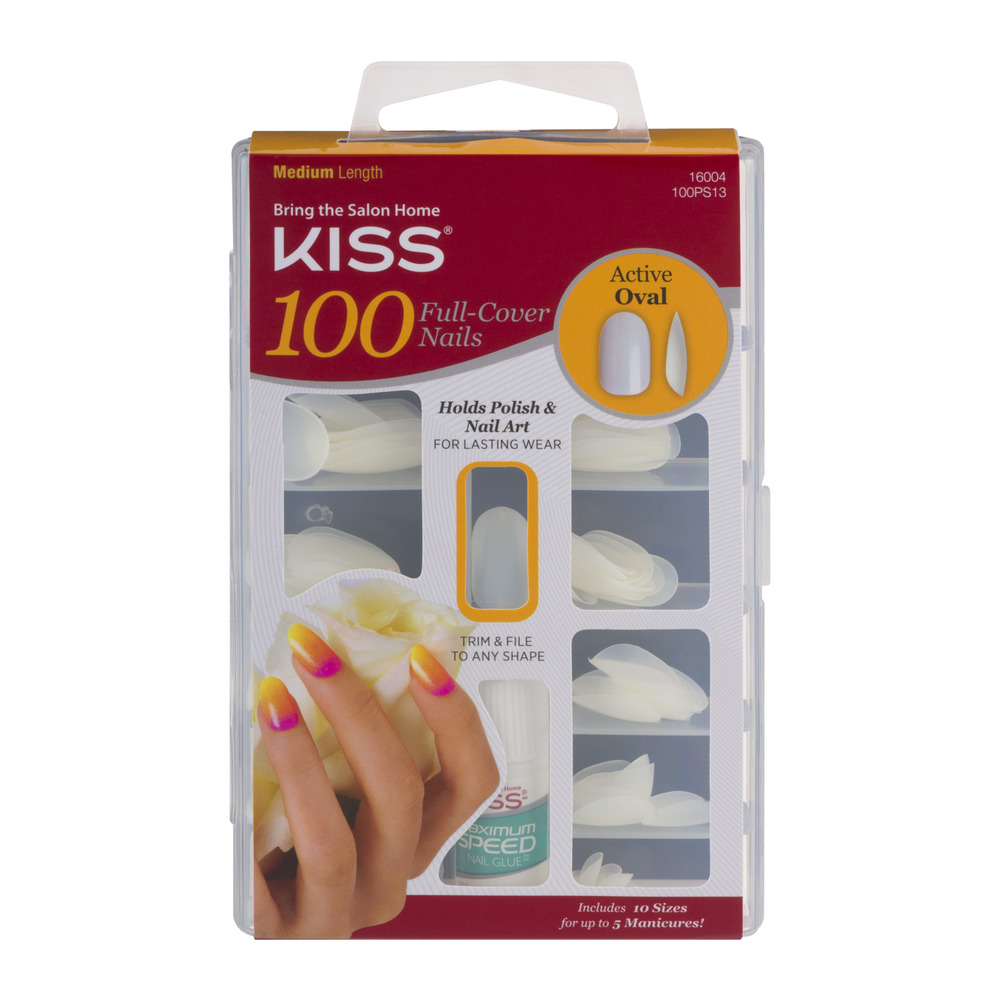 Kiss 100 Full-Cover Nails Acitve Oval Medium Length - 100 CT