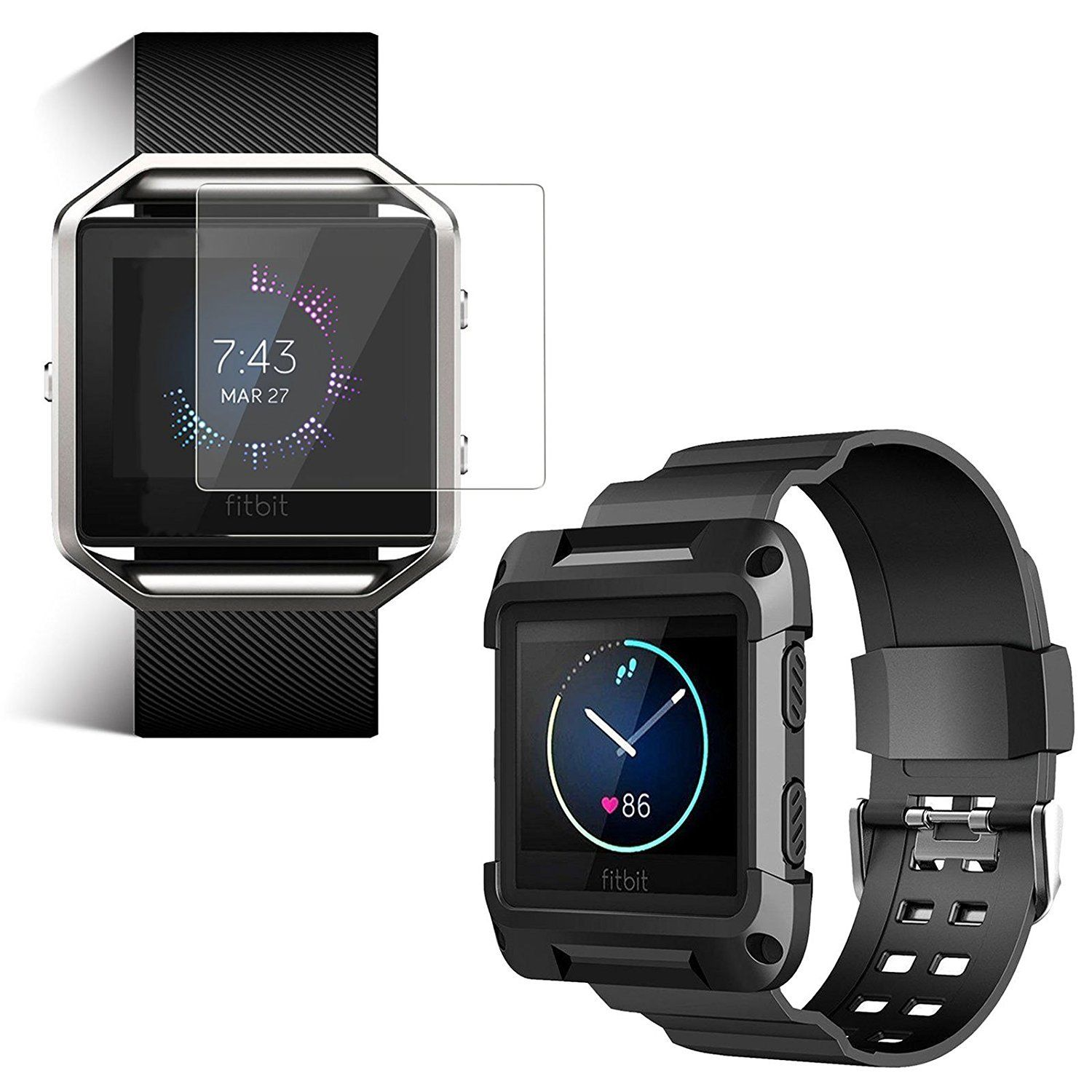 Replacement Large Wristband Band Strap Frame + Screen Protector for FITBIT BLAZE