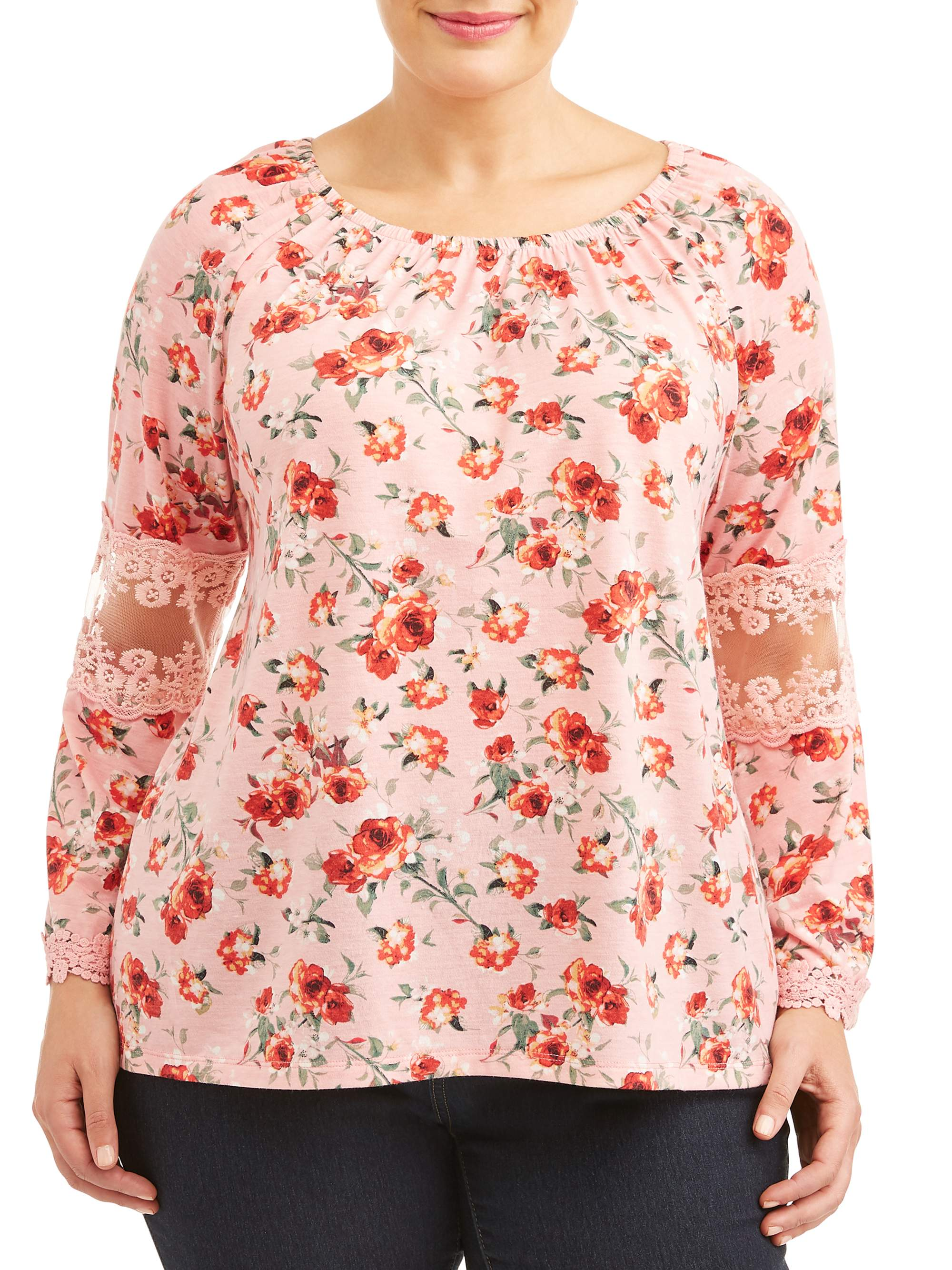 Women's Plus Size Printed Bell Sleeve Top