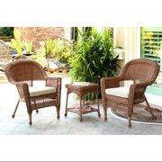 3-Piece Honey Brown Resin Wicker Patio Chairs and End Table Furniture Set Tan Cushions by CC Outdoor Living