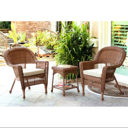 Fabulous 3 Piece Honey Brown Resin Wicker Patio Chairs And End Table Furniture Set Tan Cushions Lamtechconsult Wood Chair Design Ideas Lamtechconsultcom