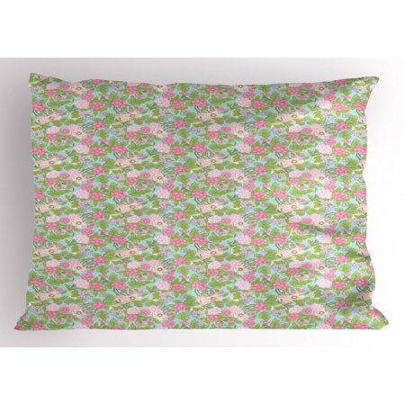 King Pistachio (Floral Pillow Sham, Spring Flourish Blooms Rose Buds Botanical Beauty Branches Image, Decorative Standard King Size Printed Pillowcase, 36 X 20 Inches, Pistachio Green Pink Lilac, by)