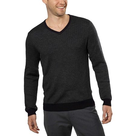 Calvin Klein Mens Size Large Merino Wool V-Neck Sweater, Black Combo Gray Wool V-neck Sweater