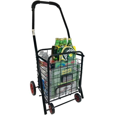 Award Winning Personal Size Durable Folding Metal Grocery Laundry Cart Compact Lightweight Utility Rolling Trolley 30LB Capacity - Farmers Market Edition