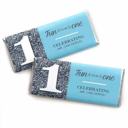 First Birthday Favors (Fun to be One - 1st Birthday Boy - Candy Bar Wrappers First Birthday Party Favors - Set of)