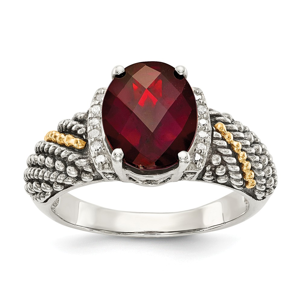 14K Gold and 925 Sterling Silver Two-Tone (0.06cttw) with Garnet and Diamond Ring Size-8 by