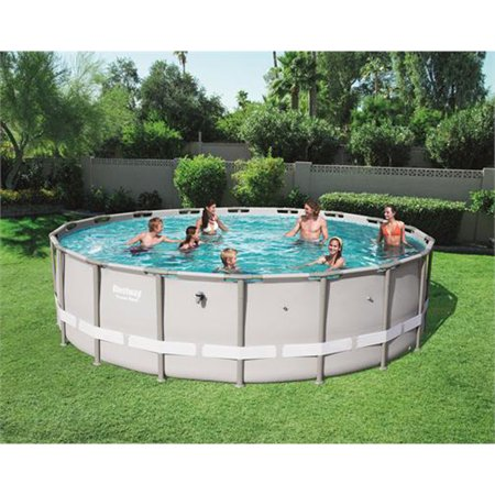 Bestway 12753-BW 18 Foot Power Steel Pro Round Frame Above Ground Swimming Pool 24 Oval Above Ground Pool